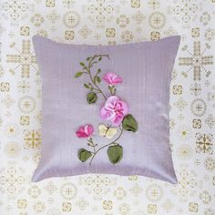 Love this dainty pillow. Pillow Embroidery, Embroidery Stitches Tutorial, Silk Ribbon Embroidery, Beaded Embroidery, Hand Embroidery, Butterfly Pillow, Flower Pillow, Polka Dot Quilts, Lace Beadwork