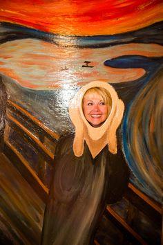"Photo Op where you can become Edvard Munch's ""The Scream"" Idaho Falls, Edvard Munch, Interactive Art, Scream, Broadway, Creative, Fun, Painting, Painting Art"