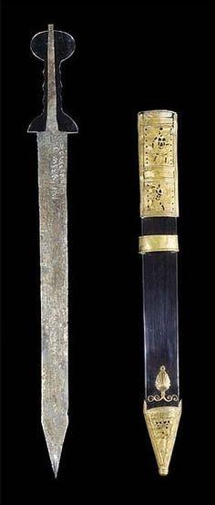 "Roman Pompeii-type Gladius (Short Sword) (The ""Guttmann Gladius"") with Tinned Bronze Scabbard and Iron Spear Head, Found Together | 1st cent. AD"