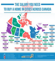 We've heard the complaints: it's tough to buy a home in Canada. Depends entirely on where you live.Toronto-based website Rentseeker in February generated an infographic th. Toronto Canada, Ontario, New Years Look, Moving To Canada, Mortgage Tips, Expensive Houses, Real Estate Tips, Tecno, House Prices
