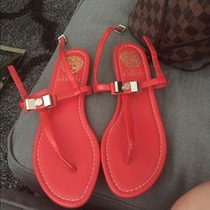 Beautiful red, never worn Vince Camuto sandal Never worn in perfect condition Vince Camuto Shoes
