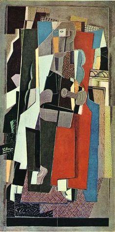 The Musician, 1918 by Georges Braque. Synthetic Cubism. genre painting. Kunstmuseum Basel, Basel, Switzerland
