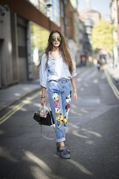 Patchwork jeans with Disney characters