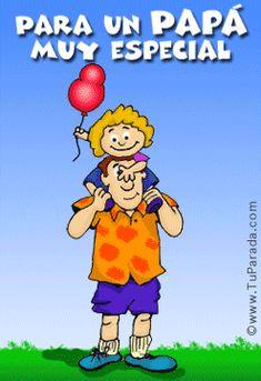 Imagen gif de una niña con globos paseando con su papá y frase especial por el día del padre
