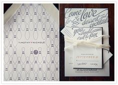 Vintage bowling inspired wedding invitations
