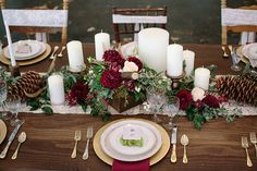 Forest Inspired Floral Table Runner | Ashley Cook Photography | Jewel Toned Autumn Woodland Wedding Shoot