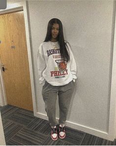 Baddie Outfits Casual, Cute Swag Outfits, Chill Outfits, Cute Comfy Outfits, Trendy Outfits, Tomboy Fashion, Teen Fashion Outfits, Retro Outfits, Streetwear Fashion