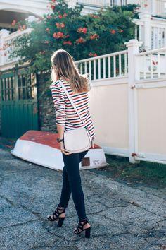 Long Sleeve Stripe Tee Raw Hem Jeans Sam Edelman Yardley Lace Up