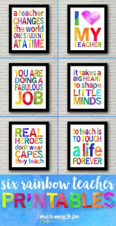 These Six Watercolor Teacher Appreciation Printables are perfect for Teacher Appreciation Week, end-of-the-year teacher gifts, beginning-of-the-year gifts, and so much more. Teachers Day Gifts, Presents For Teachers, Gift Ideas For Teachers, Cute Teacher Gifts End Of Year, Card For Teacher, Homemade Gifts For Teachers, Teachers Day Decoration, Teacher Thank You Gifts, Coach Presents