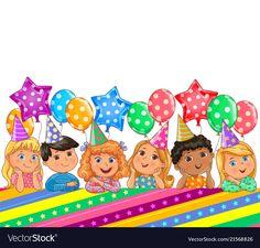 Birthday bright banner cute kids vector image on VectorStock Cupcake Illustration, Cute Illustration, Kids Vector, Vector Free, Art For Kids, Crafts For Kids, Frame Border Design, English Worksheets For Kids, Kids Background