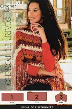 fold a large crocheted rectangle into a stylish poncho   DiaryofaCreativeFanatic
