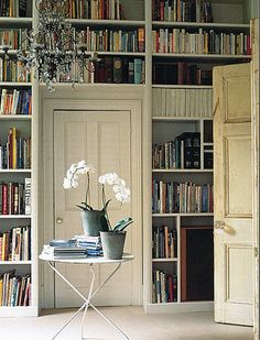 Turning a wall into one huge bookshelf sounds heavenly to me.  Am I the only one?  And I love teh shelf over the door.  Very do-able and something I wouldn't have thought of.  Really really love it!
