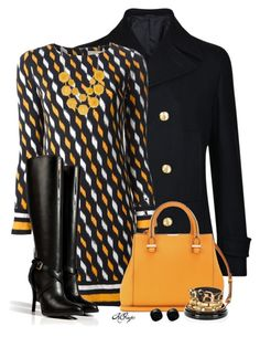 """""""Black & Marigold Fall Style"""" by kginger ❤ liked on Polyvore featuring Versace, MICHAEL Michael Kors, Ralph Lauren Collection, Victoria Beckham, Natasha Accessories, Kate Spade and River Island"""