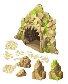 Cave entrance and stones by Ainama.deviantart.com on @deviantART: