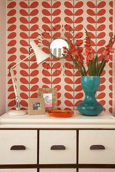 Papel de parede laranja para sala