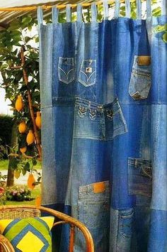 Made of Old Jeans Denim 2019 Idea: Denim Curtains among others such as purses stuffed animals covered furniture and many more ideas. The post Made of Old Jeans Denim 2019 appeared first on Denim Diy. Diy Jeans, Jean Crafts, Denim Crafts, Denim Curtains, Denim Decor, Sewing Crafts, Sewing Projects, Denim Ideas, Creation Couture