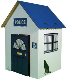 cardboard police station | ... durable cardboard the Police Station comes with a blue front door Cardboard Box Houses, Cardboard Model, Cubby Houses, Play Houses, Cardboard Toys, Cardboard Furniture, Kids Police Car, Toy Cars For Kids, Police Box