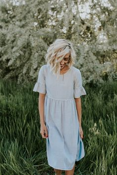 Light Blue Dress with Bell Sleeves | ROOLEE