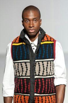 Star South African designer Laduma Ngxokolo's MaXhosa knitwear at Labo Ethnik Fashion Week 2013 in Paris.