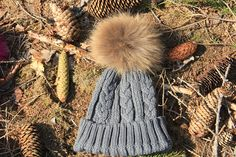 "EXTRA Large 6 ""real fur pom grey womens pom hat,winter hat for women,beanie with pom,winter pom hats,fur pom hat,knitting beanie, pom beanie"