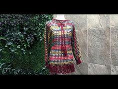 Vestido Multicolor, Patron Crochet, Sweaters For Women, Men Sweater, Crochet Videos, Chrochet, Pullover, Crochet Top, Crochet Patterns