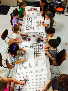 Peg board and flat screws geo board for creating shapes and design. Math and art in the classroom. www.facebook.com/weewarhols STEM STEAM