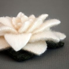 Snow White Recycled Cashmere Flower Pin  $14.50