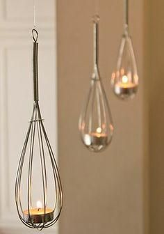 repurposed whisks, this would be really cute outside with battery tea lights too