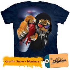 Graffiti Saber Adult T-Shirt by The Mountain - Adult S, Multi Tiger T-shirt, Graffiti, T Shirt Printer, Custom T, Tshirts Online, Cool T Shirts, Printed Shirts, Graphic Tees, Graphic Design