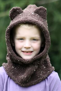 Baby Bear Hooded Cowl..# free #knitting pattern link here