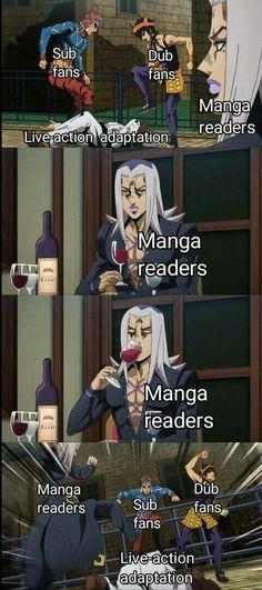 Sub dub and manga agree in one thing that live action adaptation sucks - Action Manga - Anime Anime Meme, Manga Posen, Animation, Rasengan Vs Chidori, Funny Jokes, Hilarious, Jojo Memes, Humor Grafico, Jojo Bizzare Adventure