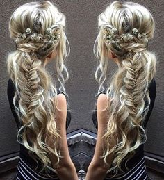messy boho ponytail with fishtail braid