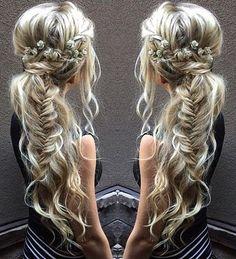 messy boho ponytail with fishtail braid