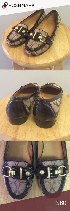 """Coach """"Elkie"""" Loafers - Size 8 Signature print shoe with dark brown patent leather trim. Gold-tone hardware. Some wear to soles, as well as interior heel where I had put sole tape since these were a little too big on me. Otherwise excellent condition as they were hardly ever worn. Original box not included. Coach Shoes Flats & Loafers"""