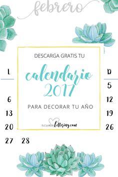Calendario 2017 en pdf listo para descargar e imprimir gratis.