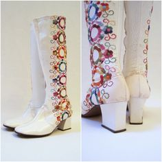 Hippie Pictures From The 70S | 60s 70s Hippie Vintage Gogo Boots Knee High Embroidered White 7