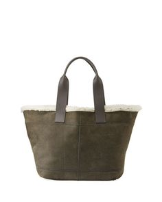 Brunello Cucinelli Brushed Tote Bag With Fur Lining In Dark Green Cow Leather, Pebbled Leather, Small Tote Bags, Brunello Cucinelli, Luxury Branding, Neiman Marcus, Christian Louboutin, Fur, Hand Bags