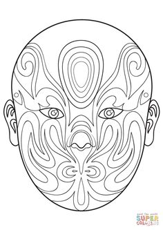 Chinese Opera Mask 6 coloring page | Free Printable Coloring Pages