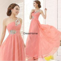 Long Oneshoulder Pink Prom Dress   Prom dresses Prom dress