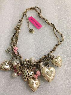 Betsey Johnson Dollhouse , Hearts, Pink Bow, Rhinestone Necklace Rare HTF #BetseyJohnson #Statement