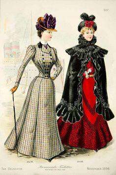 1898 Lithograph Victorian Women Promenade Toilette Costume Fashion Clothing Coat