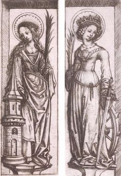 St Barbara St Catherine by Master Of The Housebook