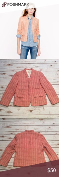 "J Crew Coral Tweed Blazer Size 8 J Crew Coral Tweed Blazer Size 8. Fully lined. Hook and eye Closure. Fitted for a tailored look. Standing collar. Patch pockets and flap pockets. Material: 94% Polyester, 6% Other Fiber. Lining is 100% Acetate. Dry Clean. Measurements laying flat: Bust: 18.5"", Sleeves 21.5"", Length 22.5"". Has tiny Silver Metallic Threading. Stock photo from jcrew.com. Other photos are actual item. 🚫NO TRADES OR LOW BALL OFFERS🚫 J. Crew Jackets & Coats Blazers"