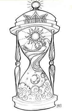 Hourglass small art print day in the night, night in the day. Tijd i . - Hourglass small art print Day in the night, night in the day. Tijd is relieved. I think - Adult Coloring Book Pages, Printable Adult Coloring Pages, Coloring Books, Colouring Pages For Adults, Art Sketches, Art Drawings, Drawing Designs, Tattoo Design Drawings, Drawing Ideas