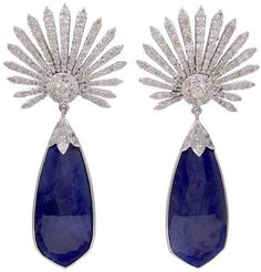 Diamond Sunburst and Tanzanite Earrings.  India.  Contemporary.  A Sunburst of Diamonds with Tanzanite Drops from these Amazing Earrings 4.00 TW Diamonds 30.TW Tanzanite Set in Silver and Gold. Listing via 1stdibs.