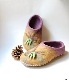 felted wool slippers for women Nature home shoes to by AMdreAM