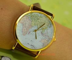 Map of the world watches leisure fashion watches by Charmgift009, $0.99