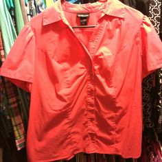 Coral top Slight stretch to it with small stain on the inner collar line Lane Bryant Tops Blouses