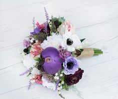 Succulent Bouquet, Rustic Bouquet, Boho Bouquet, Faux Bouquet, Vintage Bouquet, Silk Flowers, Real Touch Bouquet, Purple Bouquet