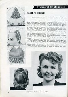 Vintage Hairstyles With Bangs Modern Beauty Shop Magazine . Feather bangs Click the pic for larger directions. Vintage Hairstyles Tutorial, 1940s Hairstyles, Hairstyles With Bangs, Wedding Hairstyles, Hairstyles Videos, Feathered Bangs, Historical Hairstyles, Hair Test, Retro Updo